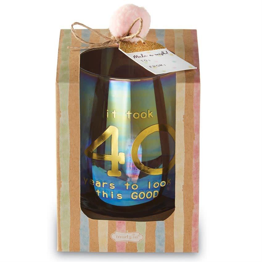 MUD PIE BOXED WINE GLASS SET- 40