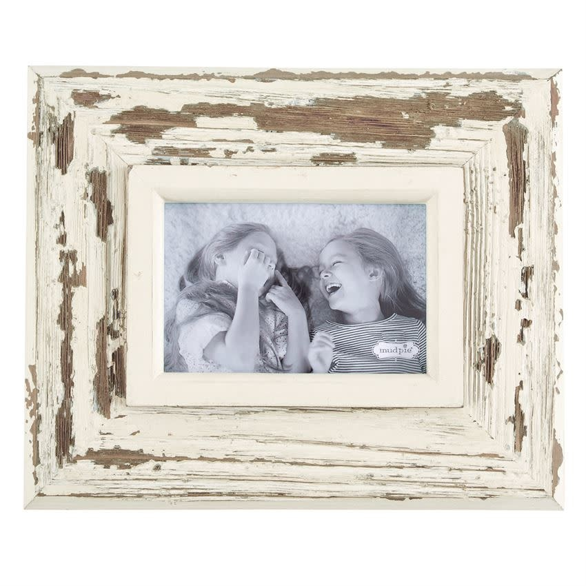 MUD PIE SMALL WHITE WEATHERED FRAME