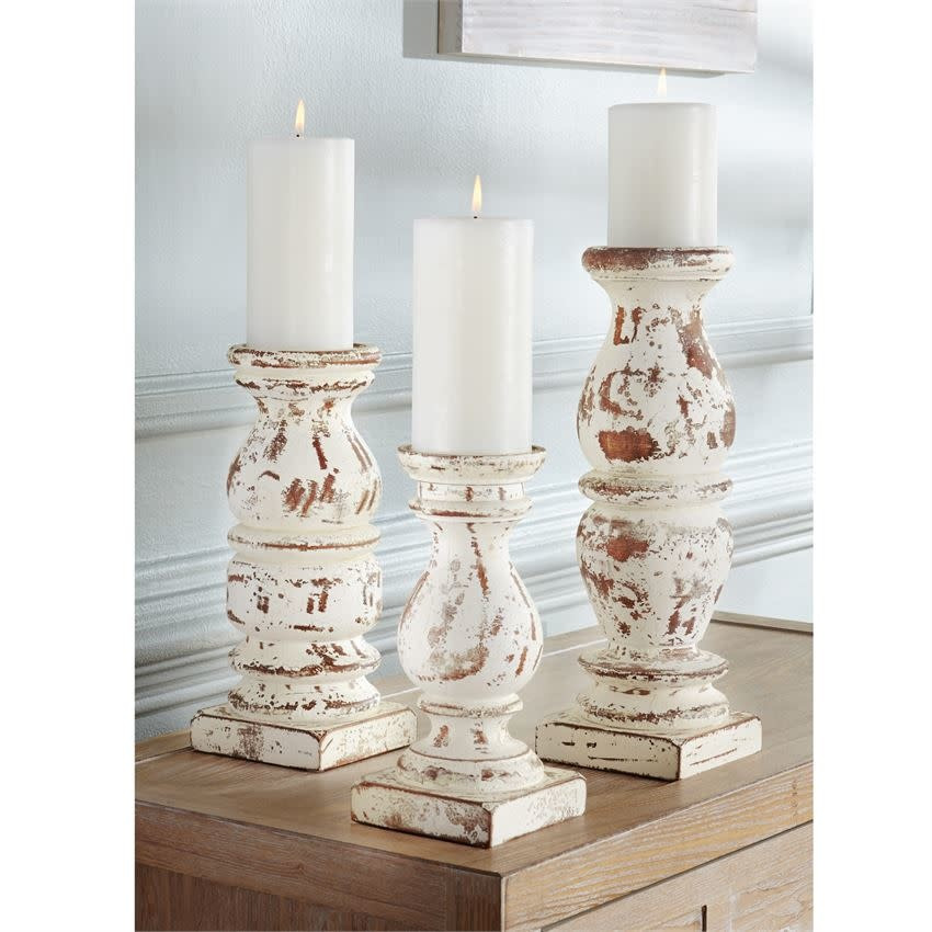 MUD PIE DISTRESSED CREAM CHUNKY WOOD CANDLESTICKS