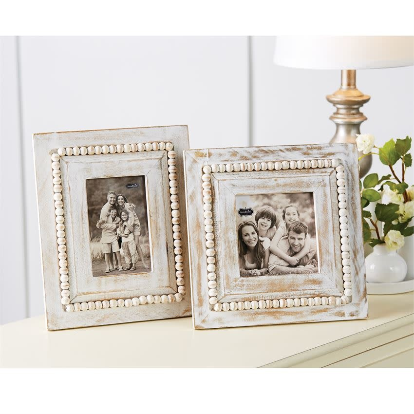 MUD PIE WHITE-WASHED BEADED FRAMES