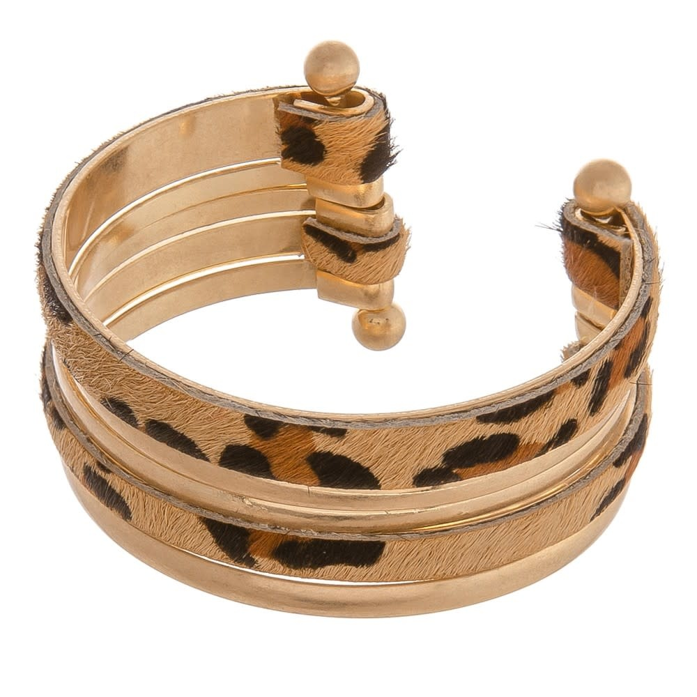 cowhide leopard print cuff bracelet