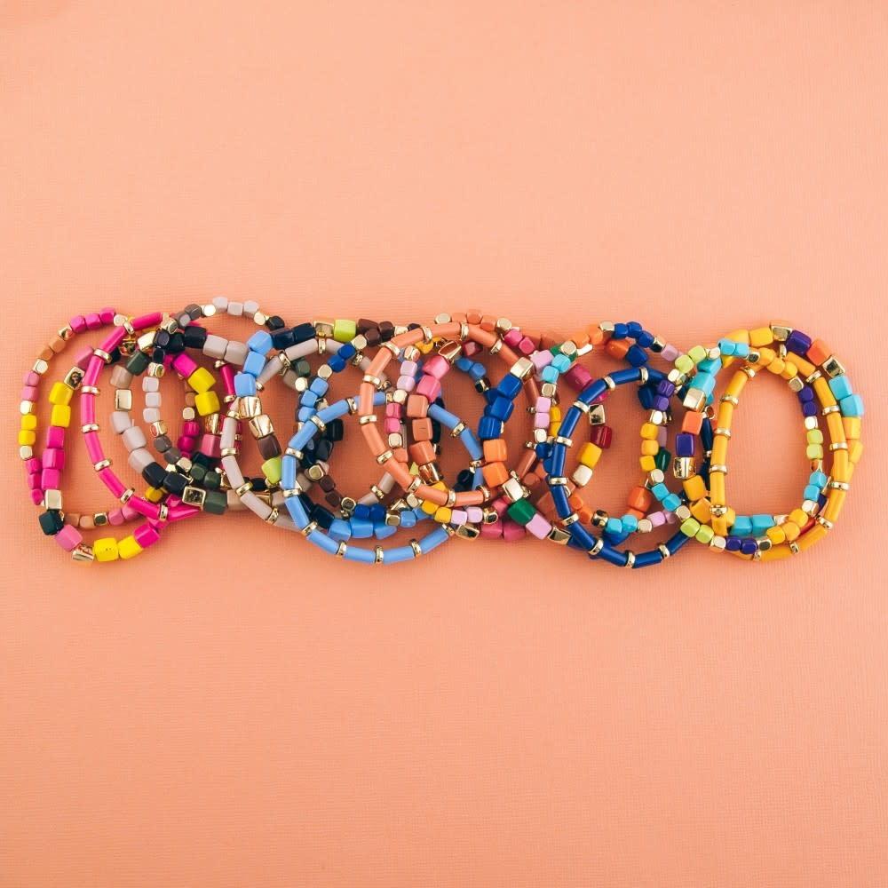 shiny enamel coated multicolor stretch bracelet set