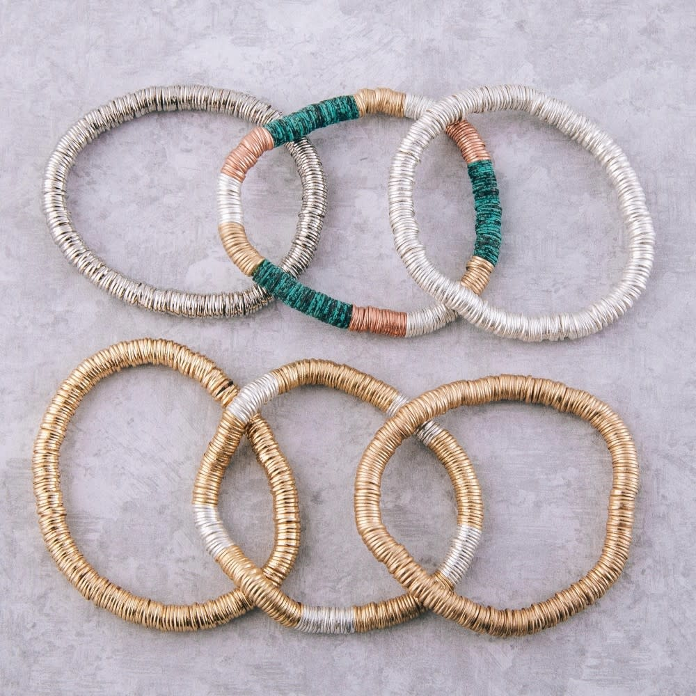metal spacer beaded stretch bracelets