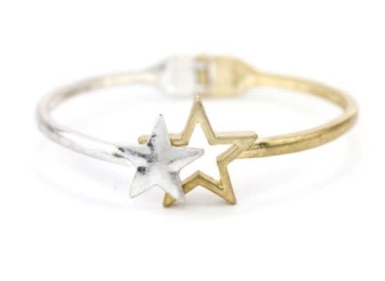 TWO-TONE STAR HINGED BRACELET