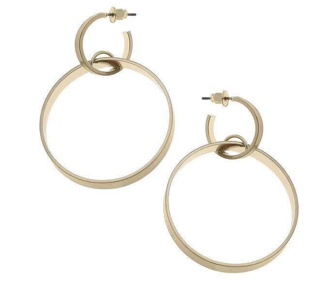 CANVAS Sloan linked hoop earrings in worn gold