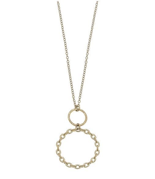 "CANVAS ALLEGRA PENDANT NECKLACE IN WORN GOLD 30"" ADJUSTABLE"