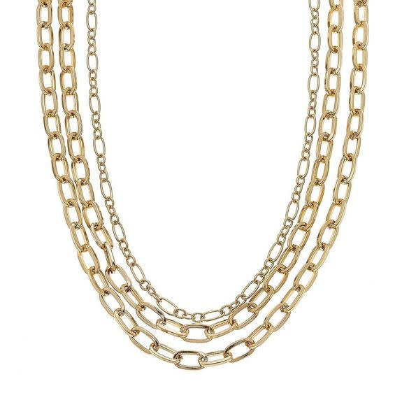 "CANVAS YARA LAYERED CHAIN NECKLACE IN WORN GOLD, 18"" ADJUSTABLE"