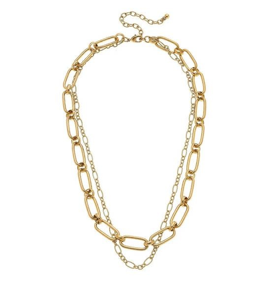 "CANVAS EVERLY LAYERED CHAIN NECKLACE IN WORN GOLD, 18"" ADJUSTABLE"
