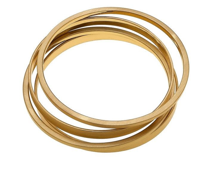 CANVAS CLEO BANGLE STACK IN SATIN GOLD, SET OF 4