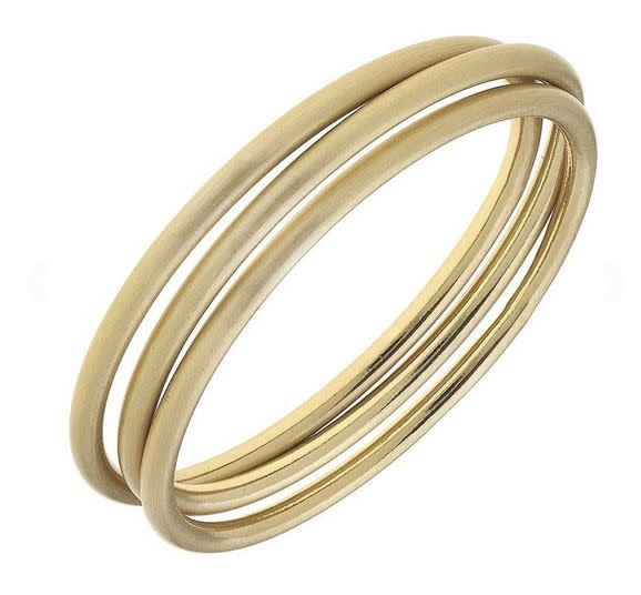 CANVAS ISLA BANGLES IN SATIN-FINISHED GOLD