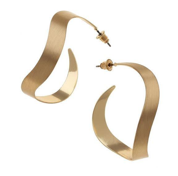 CANVAS LUMINA HOOP EARRINGS IN SATIN GOLD