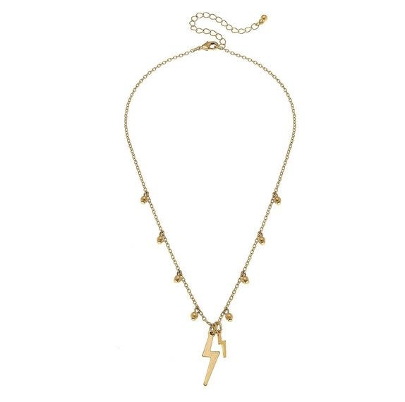 CANVAS JULIETTE THUNDERBOLT NECKLACE IN SATIN GOLD