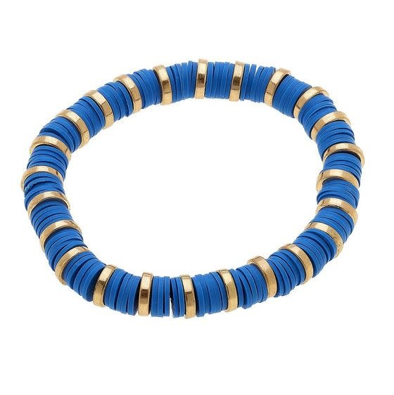 CANVAS EMBERLY CLAY STRETCH COLOR BLOCK BRACELET IN BLUE