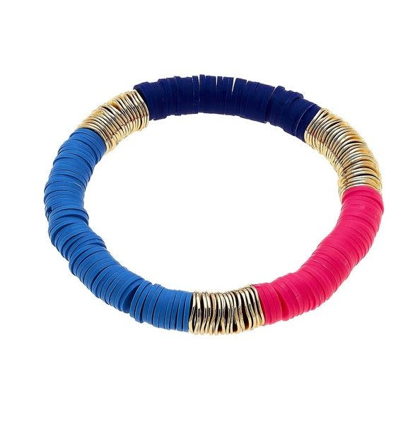 CANVAS EMBERLY CLAY STRETCH COLOR BLOCK BRACELET IN BLUE & PINK