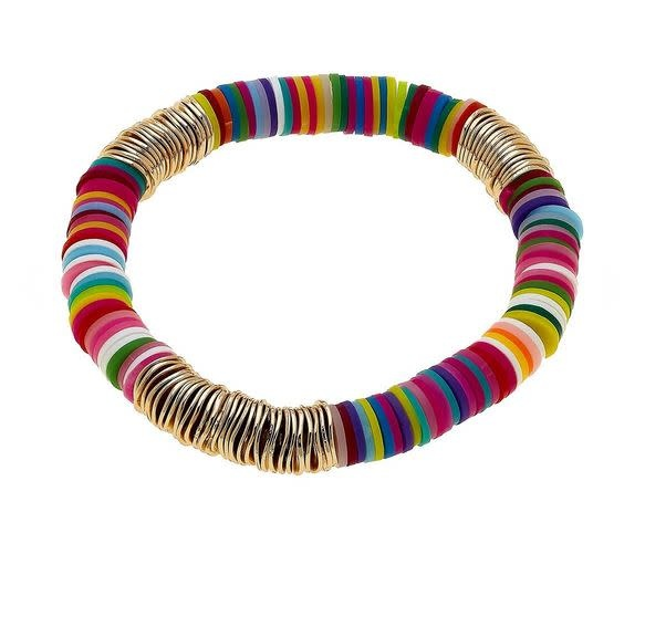 CANVAS EMBERLY CLAY STRETCH COLOR BLOCK BRACELET IN MULTI