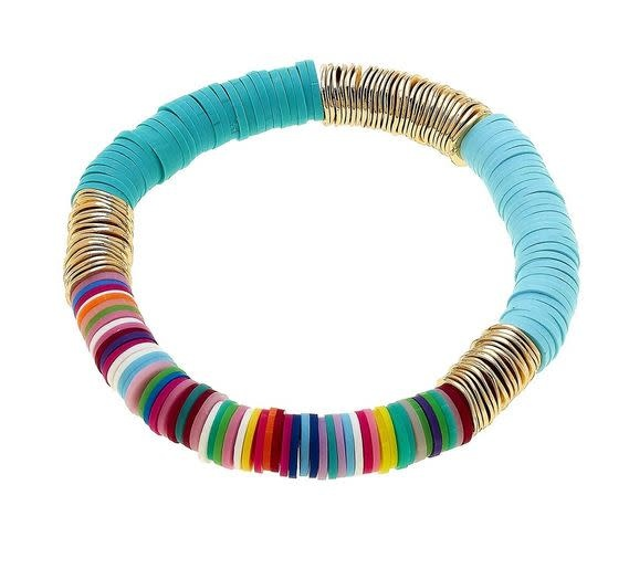CANVAS EMBERLY CLAY STRETCH COLOR BLOCK BRACELET IN TEAL MULTI