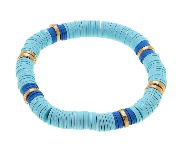 CANVAS EMBERLY CLAY STRETCH COLOR BLOCK BRACELET IN AQUA