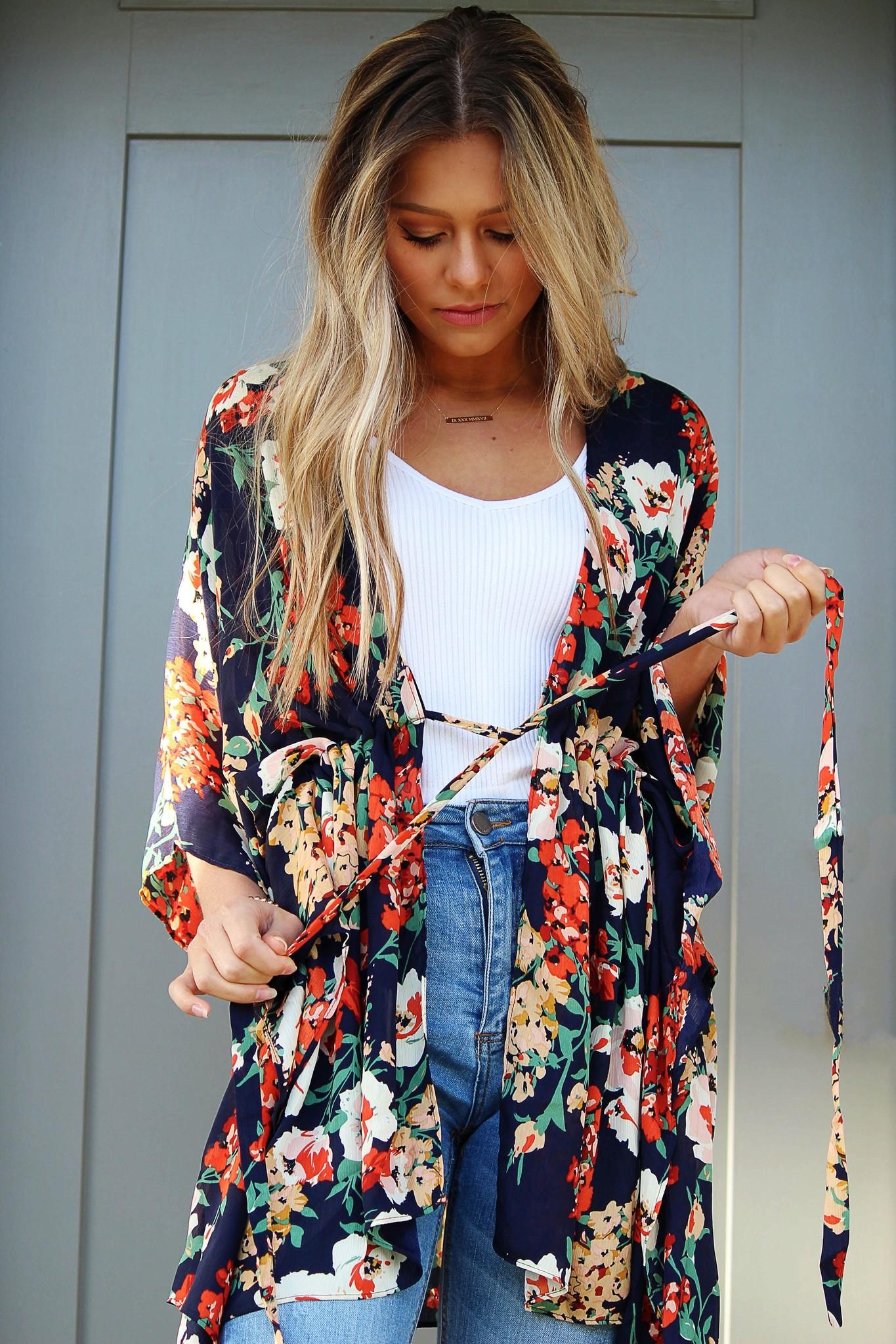 Floral Bell Sleeve Tie Kimono