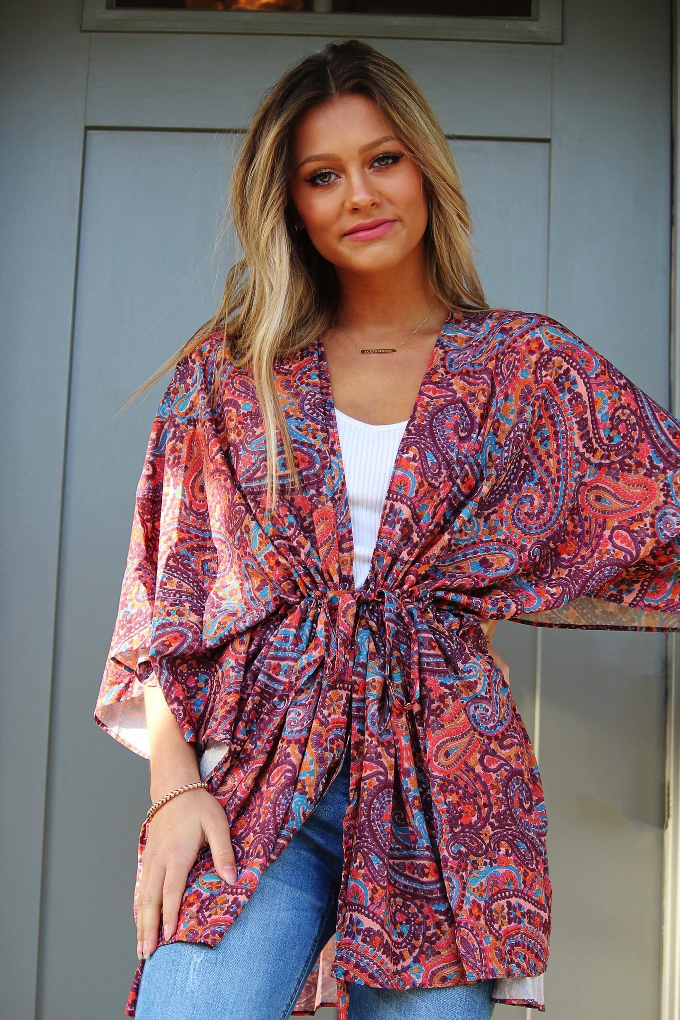 Paisley Kimono W/ Waist Tie