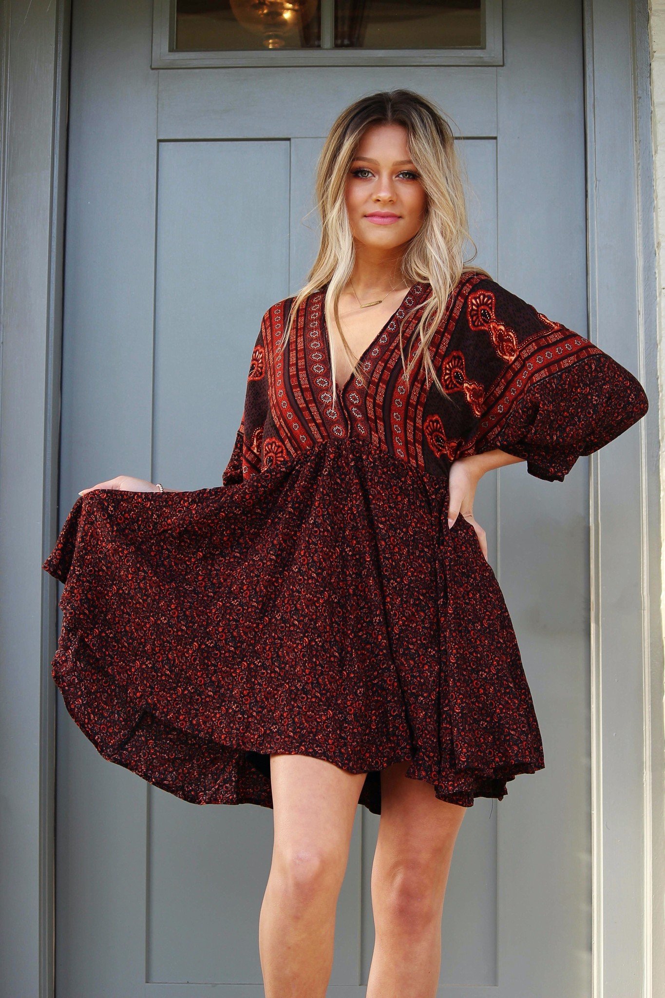 OLIVACEOUS bohemia baby doll dress