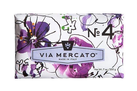 EUROPEAN SOAPS VIA MERCATO NO. 4- VIOLETS, MAGNOLIA & AMBER