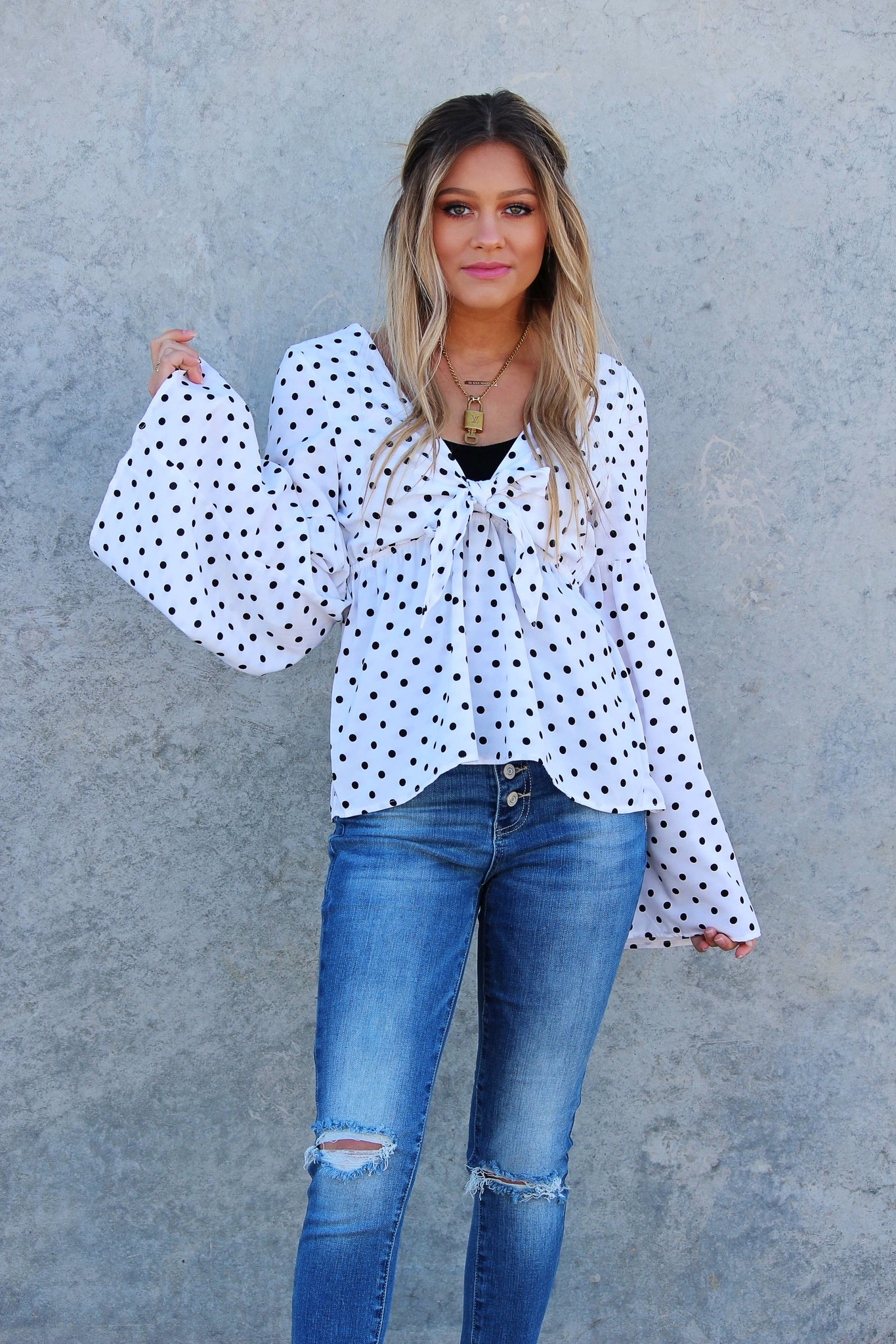 POLKA DOT BELL SLEEVE TOP W/CUTOUT FRENCH KNOT