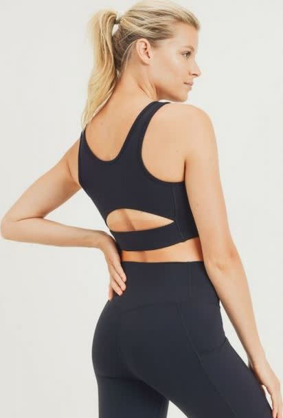 MONO B THE ESSENTIAL BLACK SPORTS BRA