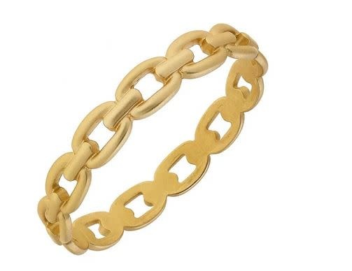 CANVAS CALAIS FROZEN CHAIN LINK BANGLE IN WORN GOLD