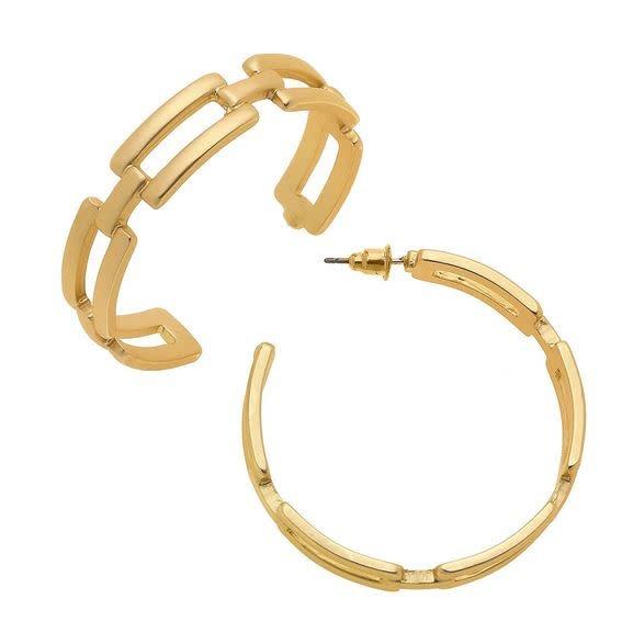 CANVAS EDITH FROZEN CHAIN HOOP EARRINGS IN WORN GOLD