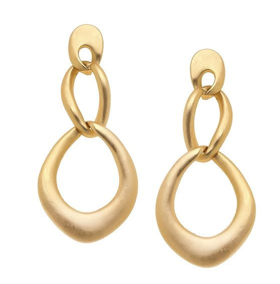 CANVAS CELINE MATTE EARRINGS IN WORN GOLD