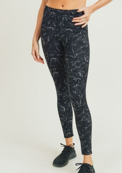 MONO B MARBLE SWIRL LEGGINGS - BLACK