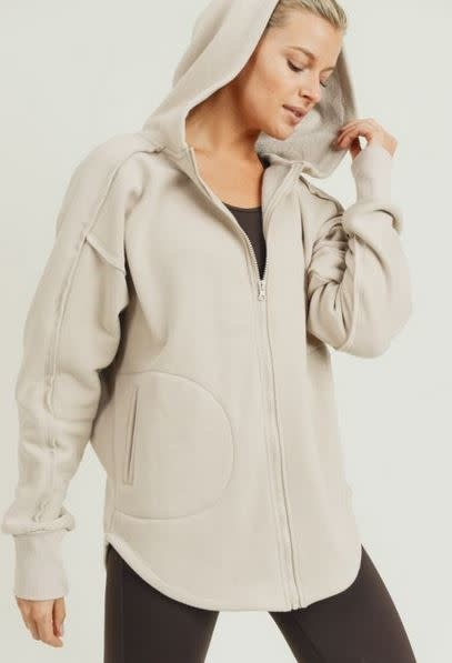 MONO B LONGLINE ZIP-UP HOODIE JACKET