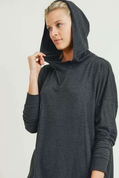 MONO B OVERSIZED BRUSHED HOODIE PULLOVER W/DROP SLEEVE