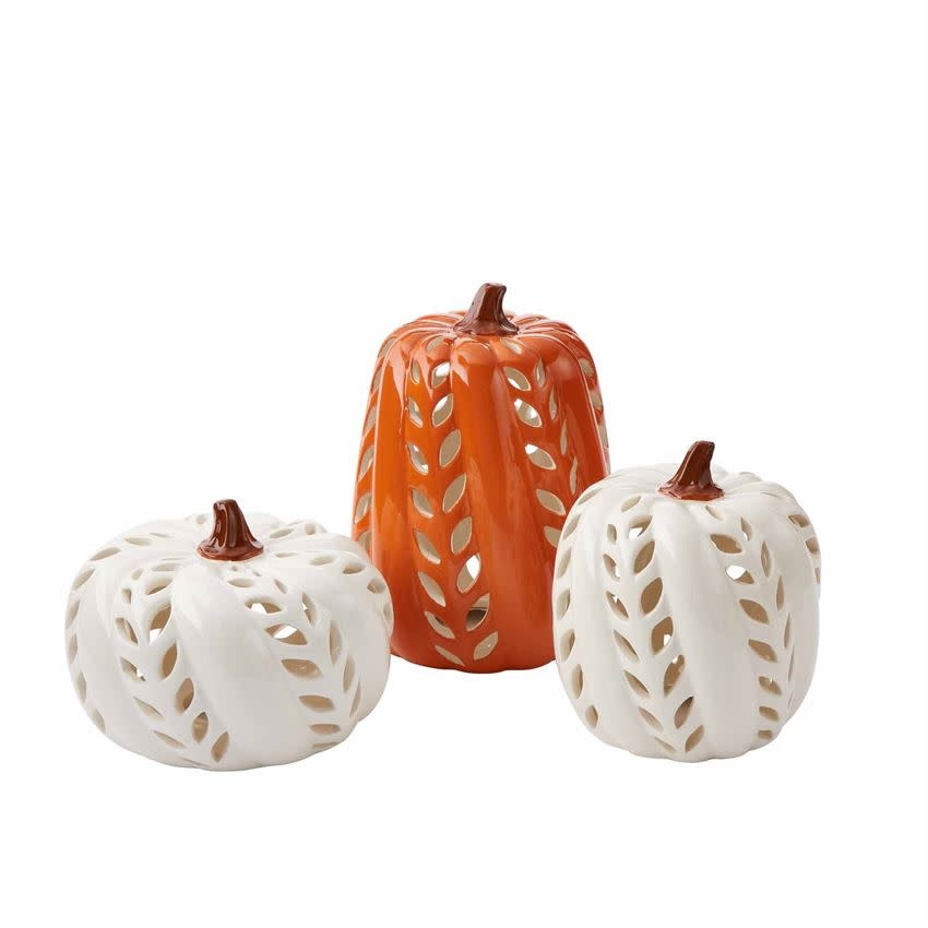MUD PIE CERAMIC PUMPKIN LANTERNS