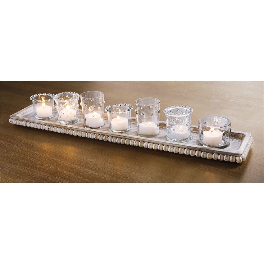 MUD PIE BEADED TRAY AND VOTIVE SET