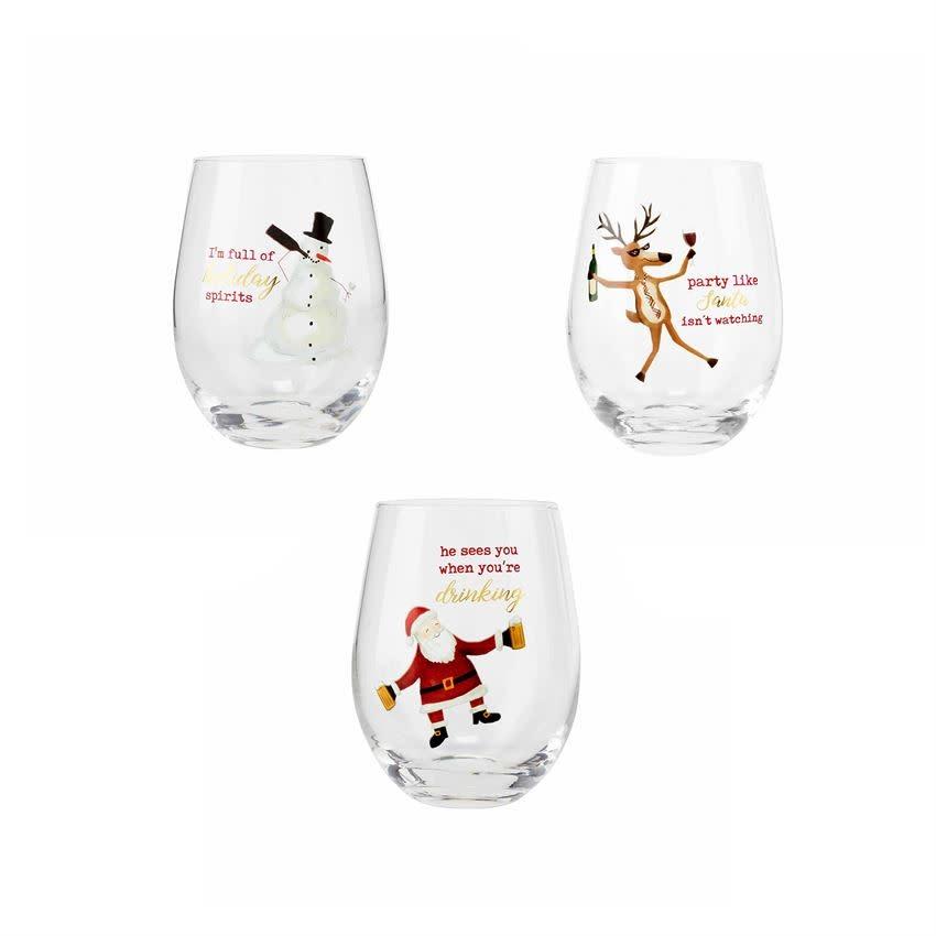 MUD PIE ICON WINE GLASSES