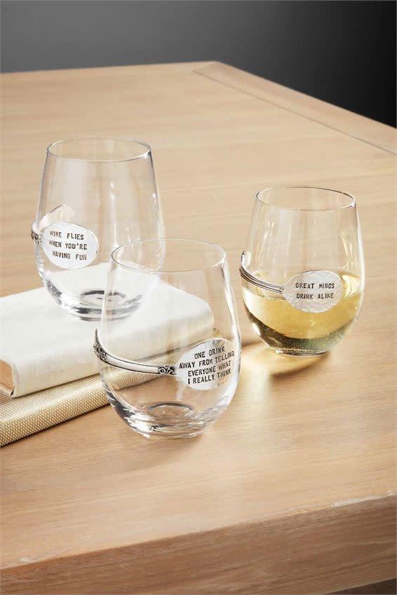 MUD PIE WINE SPOON GLASSES
