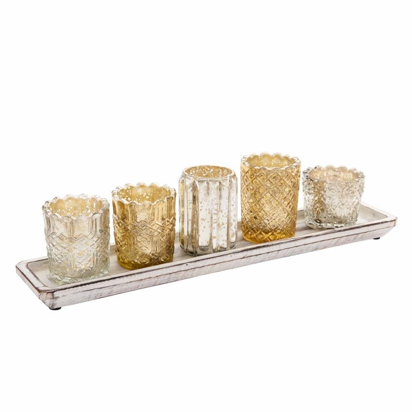 MUD PIE MERCURY GLASS VOTIVE TRAY SET