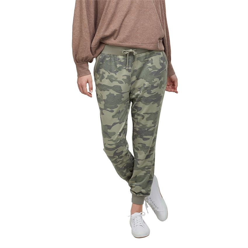 MUD PIE GREEN CAMO FANNING JOGGERS