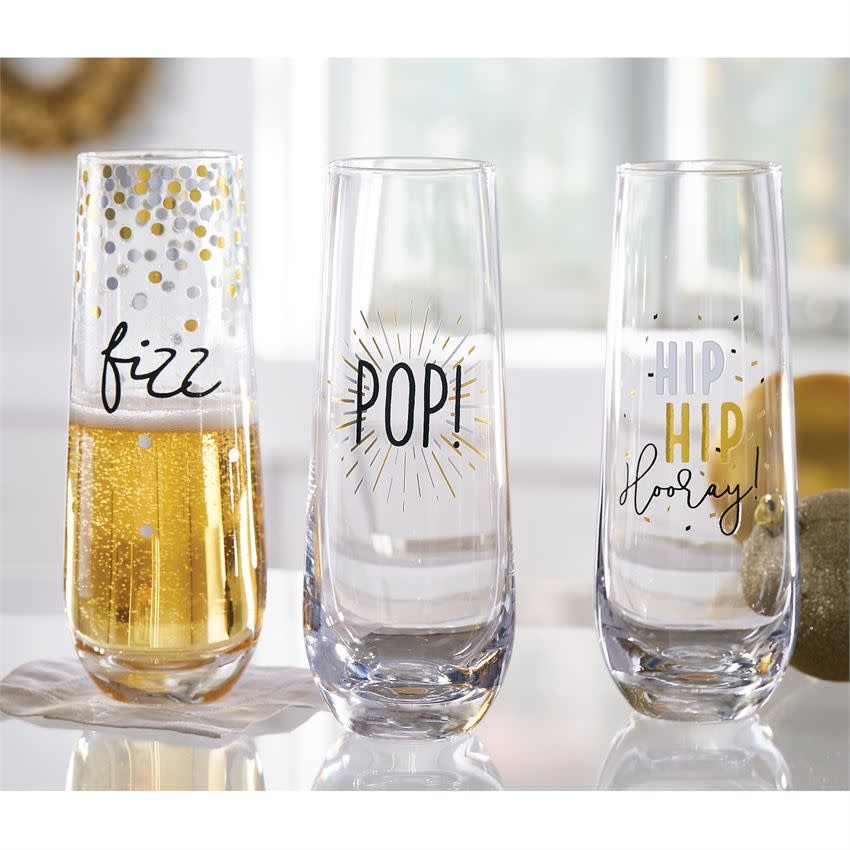 MUD PIE GOLD SILVER CHAMPAGNE GLASSES