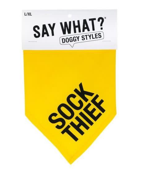 DOG COLLAR BANDANA- sock thief L