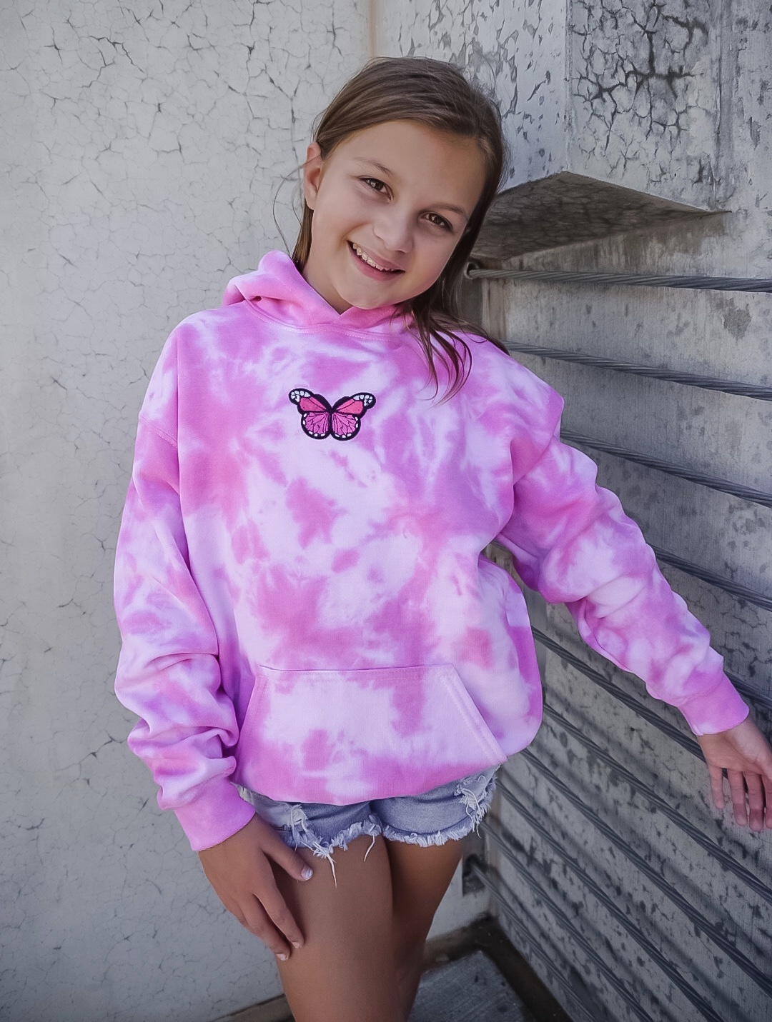 HALEY ROSE YOUTH BUTTERFLY TIE-DYE HOODIE