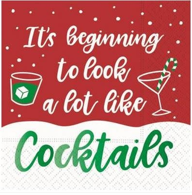 beginning to look a lot like cocktails beverage napkin