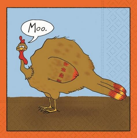 beverage napkin- moo turkey