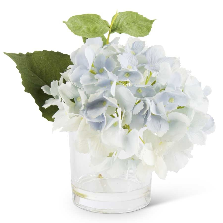 REAL TOUCH HYDRANGEA IN GLASS VASE