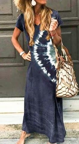 TREND SHOP DIP DYED DETAILED MAXI DRESS- NAVY/OLIVE