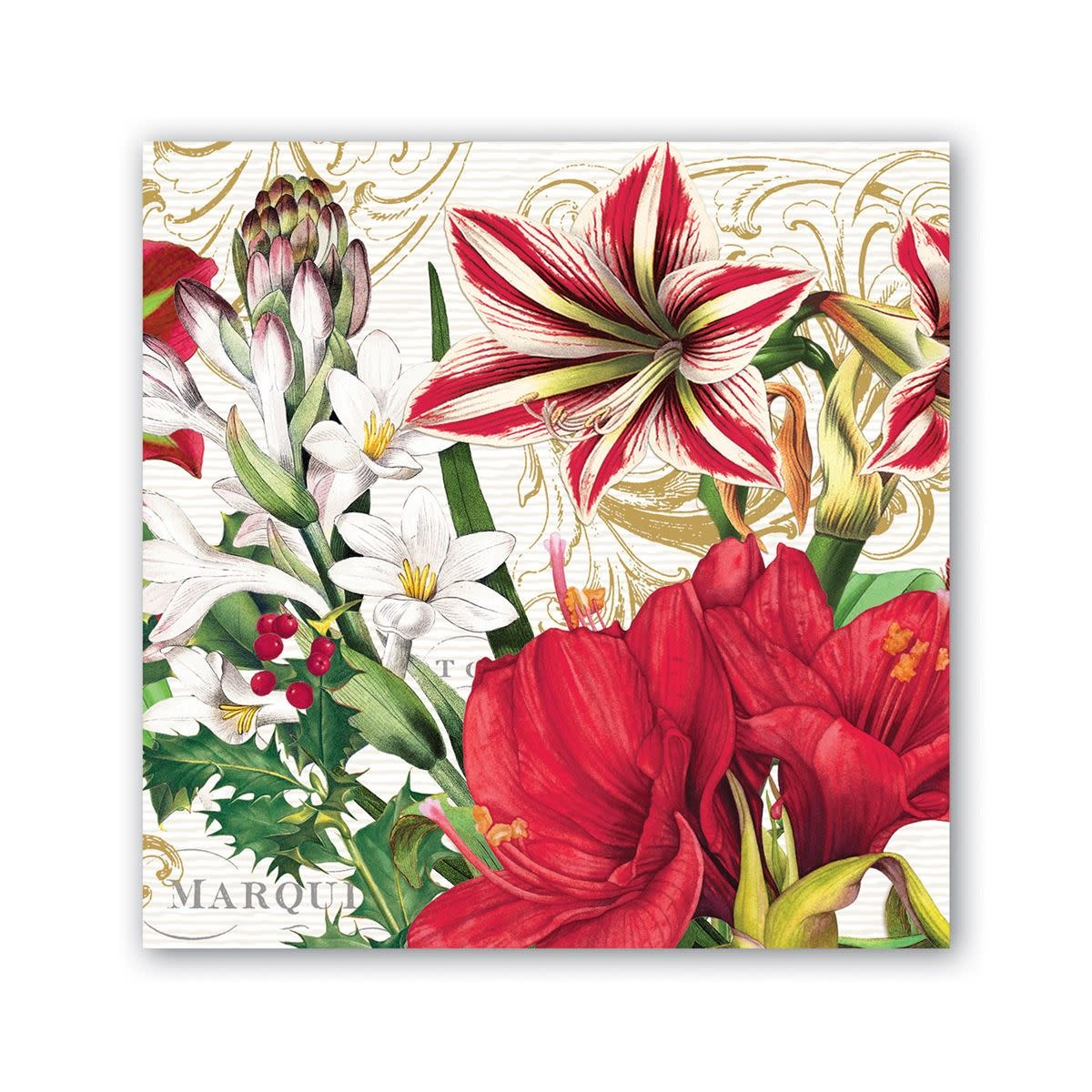 MICHEL DESIGN WORKS MERRY CHRISTMAS COCKTAIL NAPKINS