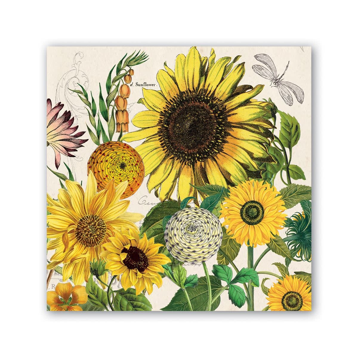 MICHEL DESIGN WORKS SUNFLOWER COCKTAIL NAPKINS