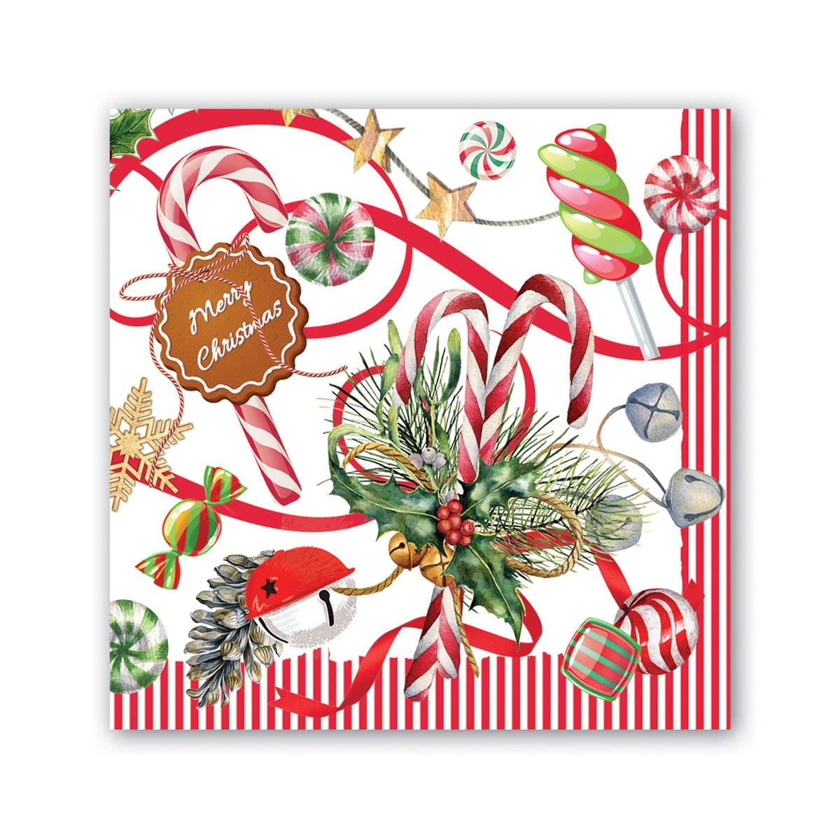 MICHEL DESIGN WORKS PEPPERMINT COCKTAIL NAPKINS