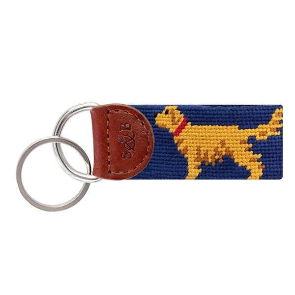 SMATHERS & BRANSON GOLDEN RETRIEVER NEEDLEPOINT KEY FOB